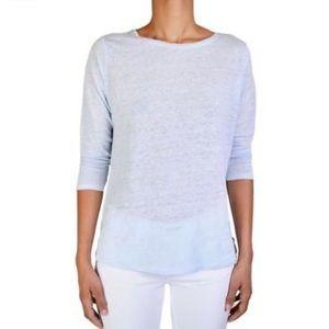Vince Tops - Vince Blue Linen 3/4 Sleeve Tee Shirt XXS-L